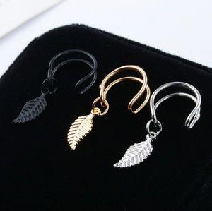 One Double Ear Cuff Leaf Feather Silver Earrings